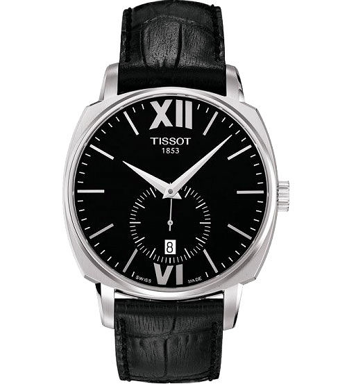 TISSOT 天梭 T-Lord 都會紳士小秒針機械手錶-黑/40mm T0595281605800