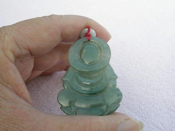 【歡喜心珠寶】【蓮座寶瓶觀音雕像玉墜】天然緬甸冰種翡翠滿綠色「A貨附保証書」色澤耀眼動人