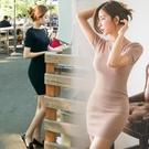 職業洋裝 春韓國一字領修身簡單性感包臀緊身針織連身裙夏季OL打底短裙短袖-Ballet朵朵