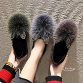 毛毛鞋 女鞋2019新款毛毛鞋女外穿秋冬季加絨一腳蹬單鞋網紅豆豆鞋女百搭35-40碼 多色