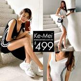 克妹Ke-Mei【ZT52633】OPS 辣模款!韓妞性感黑白撞色開叉顯胸洋裝