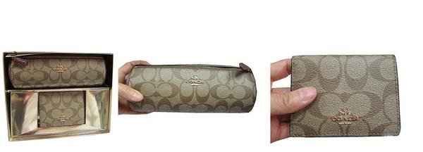 ~雪黛屋~COACH 化妝筆袋包+證件鏡夾禮盒組國際正版品牌專櫃保證進口防水防刮皮革F801221