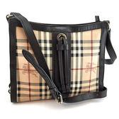 【奢華時尚】秒殺推薦!BURBERRY 騎士格紋帆布斜背方形扁包(八五成新)#23424
