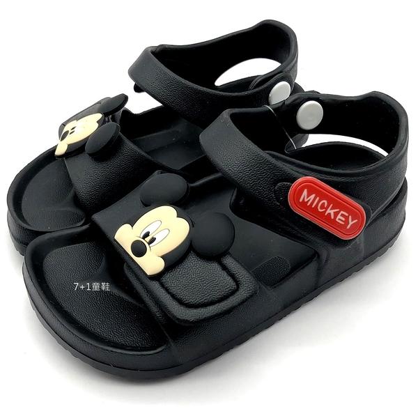 《7+1童鞋》DISNEY 迪士尼 米奇 MIKEY MOUSE   防水 休閒  涼鞋  D191  黑色
