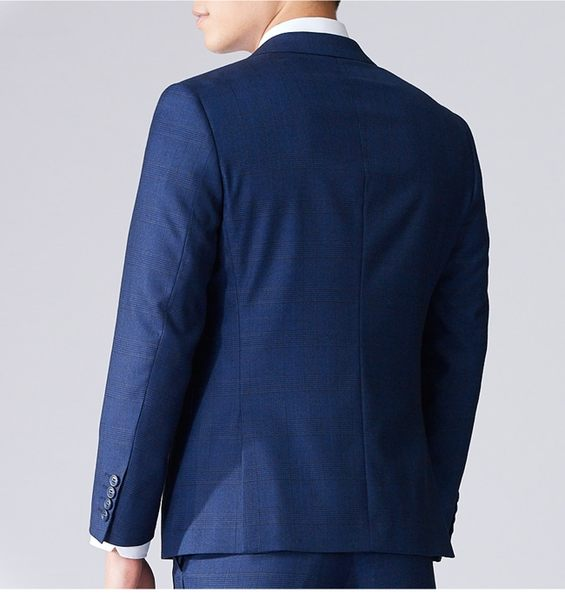 極品西服 嚴選菁英款彈力窄版西裝外套_藍格(AW753-3H)