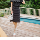 《CA1333》典雅女孩黑白點點壓紋雪紡裙 OrangeBear