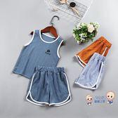 運動套裝 兒童套裝2019夏季新款韓版男女童休閒運動套裝小孩背心短褲兩件套 3色