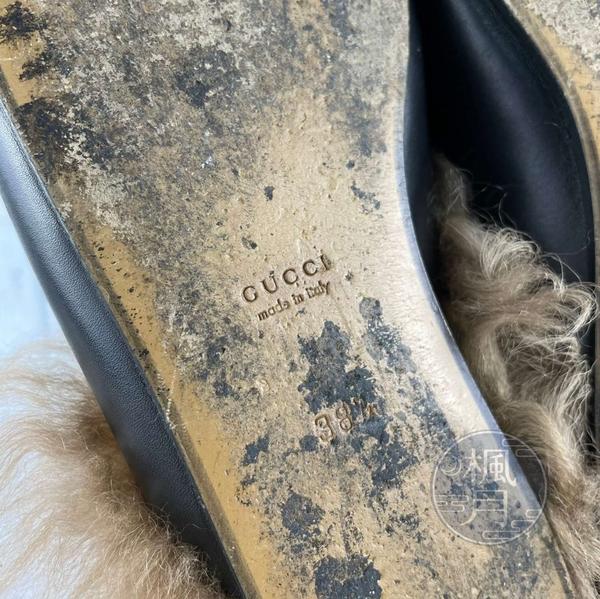 BRAND楓月 GUCCI 古馳 毛毛 黑色 穆勒鞋 平底鞋 休閒鞋 懶人鞋 拖鞋 皮鞋 #38.5