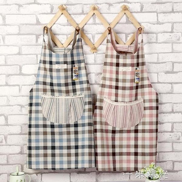 日式棉麻布藝格子蕾絲圓兜廚房家用清潔圍裙 加厚韓版罩衣工作服  聖誕節免運