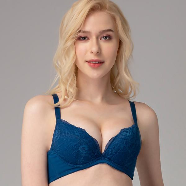 思薇爾-晝夜魅影系列B-E罩蕾絲包覆內衣(雋永藍)