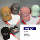 『 One Boy 』【NU1692】韓版毛呢字樣糖果紛色休閒棒球帽