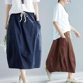 胖妹妹大碼裙子洋氣寬鬆減齡顯瘦時尚純色百搭半身裙春季新款2020 快速出貨