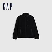 Gap男裝 可兩面穿仿羊羔絨立領外套 656247-海軍藍