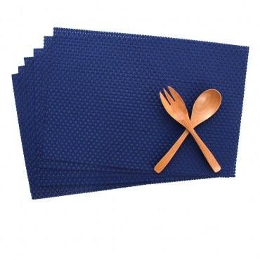 Lovel歐美風手作編織感餐墊-經典寶藍6入