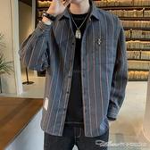 外套條紋長袖襯衫男士秋季韓版潮流休閒格子襯衣港風工裝帥氣上衣外套 阿卡娜