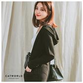 Catworld 正韓空運*開襟長版連帽棉外套【15003533】‧F