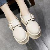 小皮鞋女學生正韓百搭女鞋鬆糕鞋女厚底春季單鞋娃娃鞋【雙11狂歡8折】