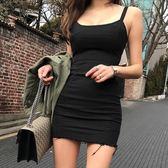 洋裝吊帶裙 牛仔吊帶裙緊身短裙連身裙 修身無袖吊帶性感包臀裙 巴黎春天