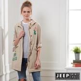 【JEEP】女裝 美式時尚修身襯衫式外套-卡其
