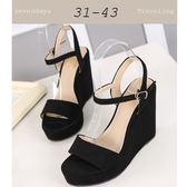 大尺碼女鞋小尺碼女鞋摩登一字魚口防水台扣帶涼鞋楔型跟鞋厚底鞋黑色(31-43)