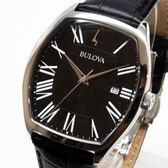 [萬年鐘錶]  BULOVA寶路華  防水 方型造型  黑錶面  黑皮錶帶  37x44mm 羅馬字體時標 96B290