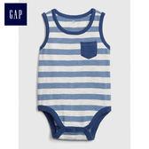 Gap男嬰兒 簡約條紋無袖三角式包屁衣 443031-牛仔藍