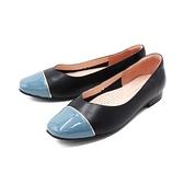【南紡購物中心】WALKING ZONE (女)方頭拼色娃娃鞋 包鞋 女鞋 -黑藍(另有黑粉)