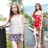 一件免運八九折促銷-游泳衣女三件套韓國溫泉小香風保守性感顯瘦小胸聚攏分體游泳衣