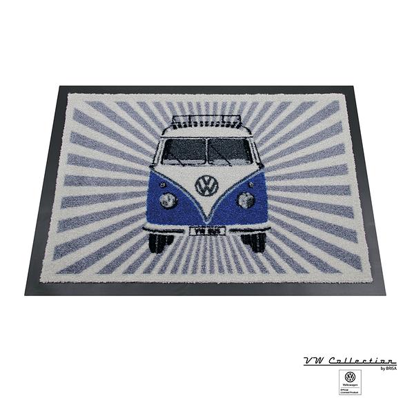 VW Brisa老福斯-T1 Bus 腳踏地墊-森巴條紋/藍