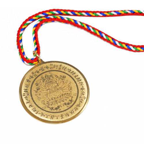 【藏傳佛教文物】準提寶鏡 精品項鍊(五色線) 吊墜 護身符 (PB-N00010)
