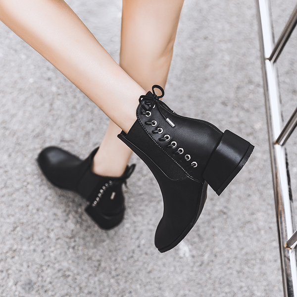 短靴女2019新款秋冬季百搭短筒英倫風馬丁靴子粗跟中跟網紅瘦瘦靴