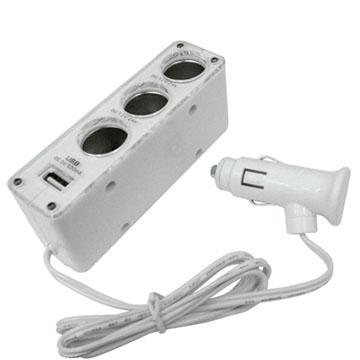 【96點菸擴充器】12V汽車點煙器 點菸器 車用充電器 擴充座 一孔變三孔 車充三孔+ USB PORT