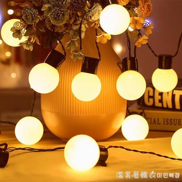 LED圓球燈串彩燈電池滿天星燈泡臥室春節節日網紅婚慶影樓裝飾燈 美眉新品
