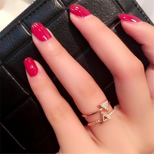 【NiNi Me】韓系戒指 時尚百搭三角形水鑽雙層開口式戒指 戒指 F0009