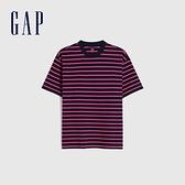 Gap男女同款 棉質舒適厚磅條紋短袖T恤 592502-藍粉條紋