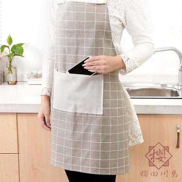 2件裝 日式棉麻家用廚房圍裙防油文藝圍裙【櫻田川島】
