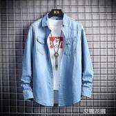 男士外套2020新款男裝秋裝韓版潮流帥氣休閒薄款春秋牛仔夾克上衣『艾麗花園』