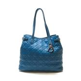 Dior 迪奧 藍色塗層帆布肩背包 Cannage Panarea 01-RU-0191 【BRAND OFF】