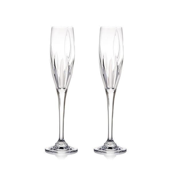 斯洛維尼亞 Rogaska Flame S/2 Flute H27.3cm 2pcs 火焰之舞系列 手工水晶 香檳酒杯 兩件組