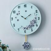 歐式田園創意掛鐘靜音時鐘客廳臥室鐘表現代簡約石英鐘 居家物語