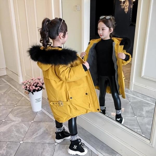加絨棉服洋氣兒童夾克外套 潮流女童外套女棉衣 羽絨外套秋冬羽絨服 大毛領韓版外套中大童上衣