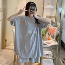 睡衣女夏學生韓版可愛薄款短袖兩件套裝寬鬆大碼可外穿家居服女士