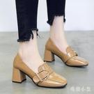 小皮鞋女復古新款秋冬英倫風方頭粗跟單鞋韓版百搭高跟鞋 EY10219『毛菇小象』