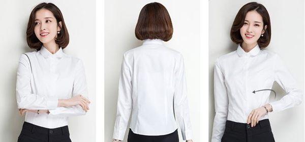 OL白襯衫女(圓領加挺版 長袖)OL套裝wcps75