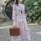 高品質2021春夏新款棉麻印花連衣裙田園文藝顯瘦甜美大裙擺仙女裙 快速出貨