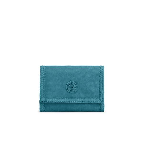 Kipling 靜謐藍綠色多夾層短夾-MICKYLINA