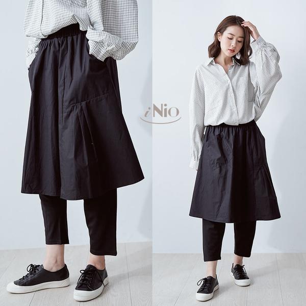 假兩件設計鬆緊腰黑色長版褲裙(S-L適穿)- 現貨快出【C9W2118】 iNio 衣著美學
