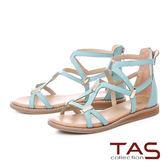 ★2018春夏新品★TAS羅馬風素面長型金屬後包涼鞋-清新藍