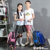 拉桿書包小學生 1-3-6年級男生兒童書包護脊6-12周歲女孩減負防水igo    西城故事