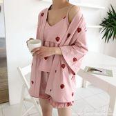 浴袍夏季女裝韓版甜美草莓五分袖 吊帶睡衣 短褲三件套家居服套裝 科炫數位